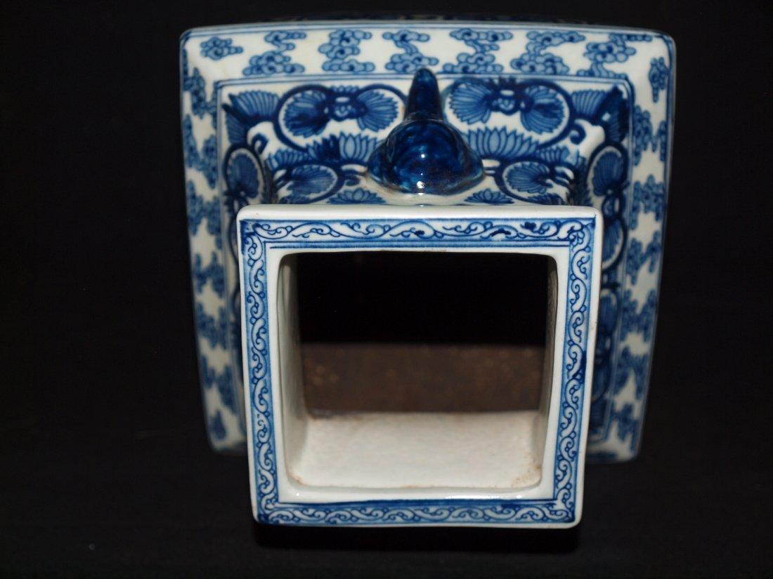 Old Blue & White Square Vase - 4