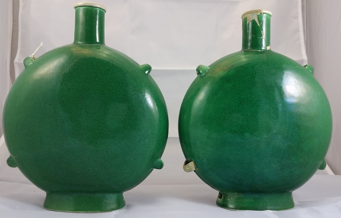 Pair of Green Glazed Flat Vases