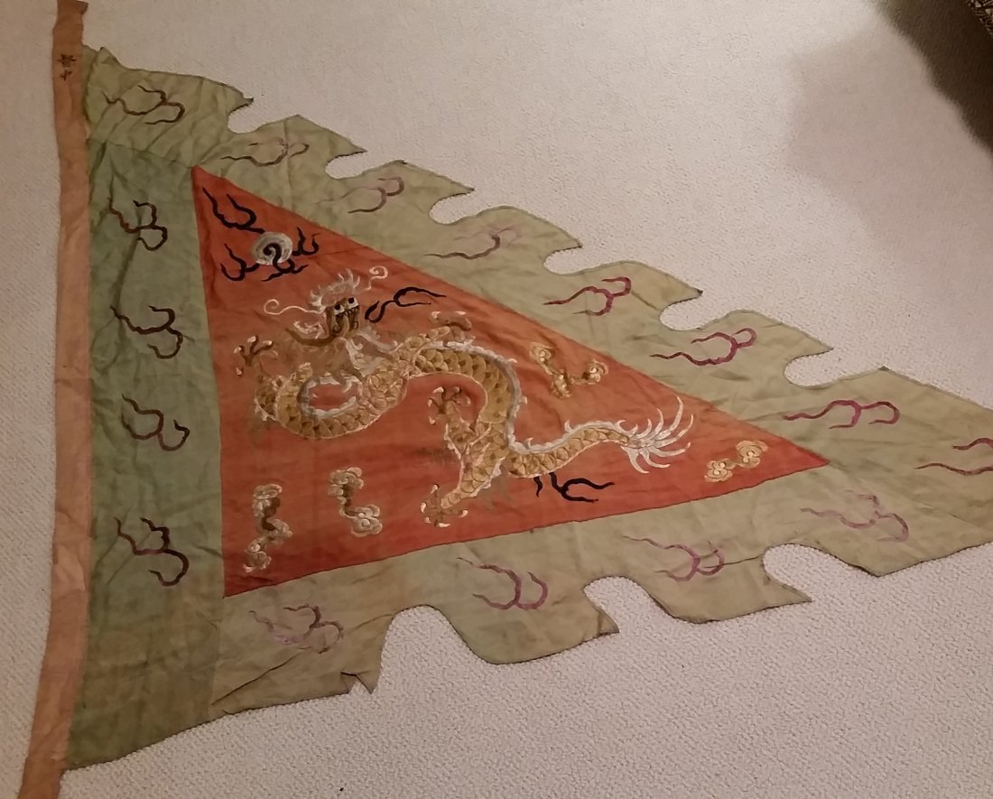 A Rare Chinese Embroidered Military Banner - 2