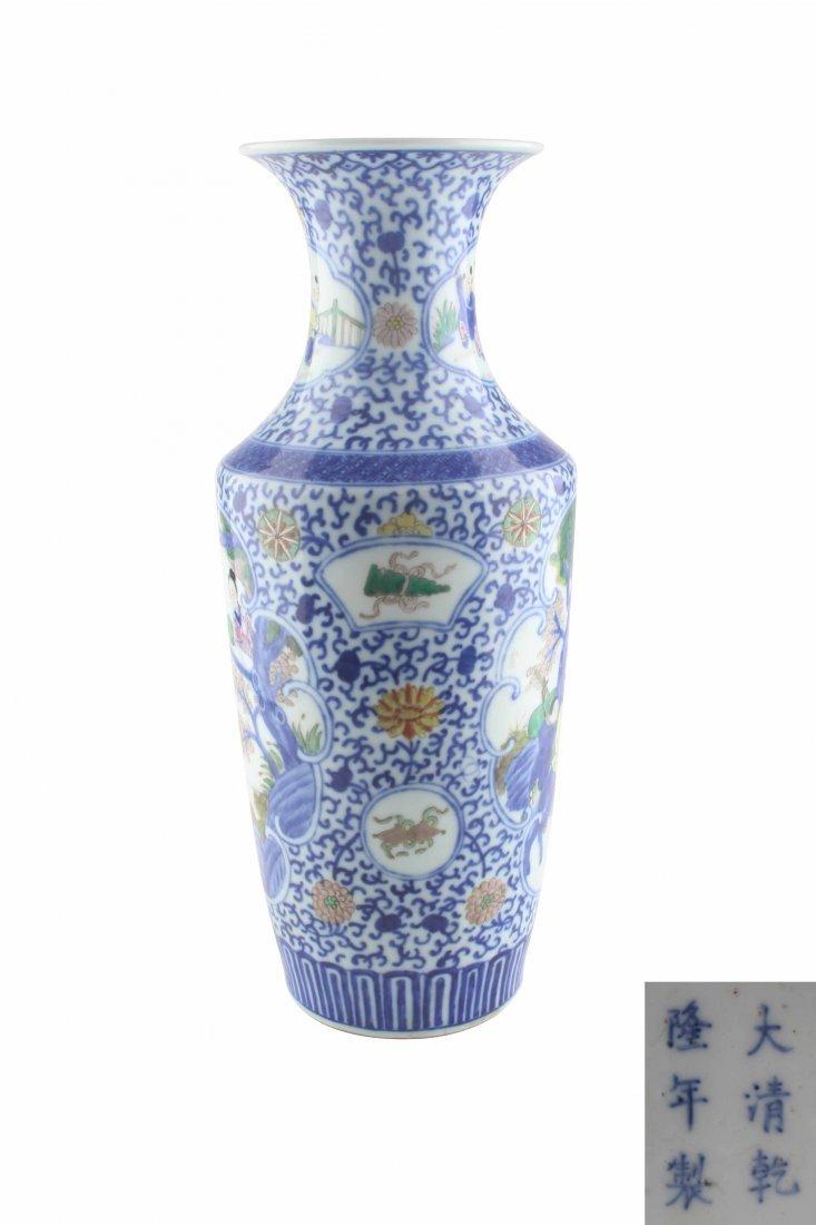 A  Celadon Famille-Rose Figure Vase