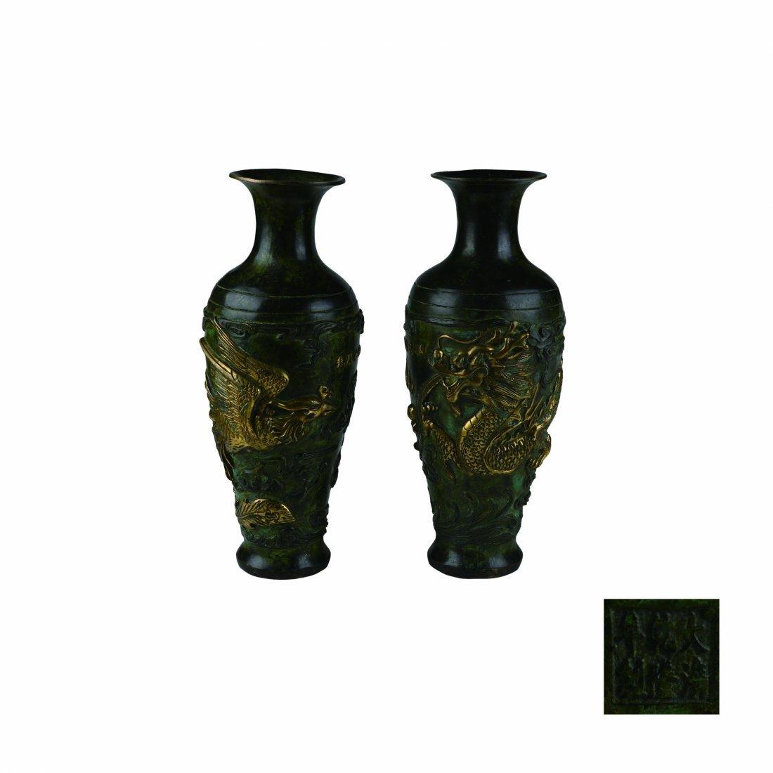 A Pair Gilt-Bronze Dragon Phoenix Vases Qianlong