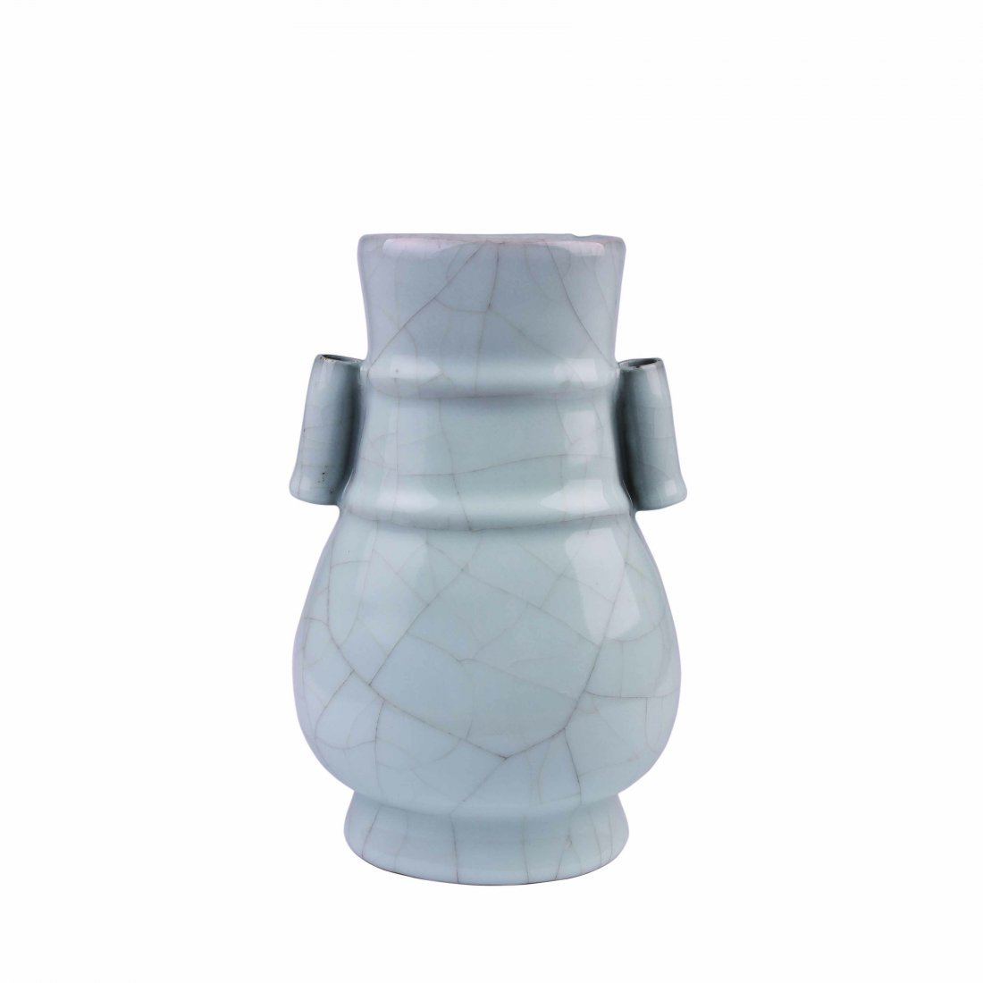 A 'Guan' Type Vase with a pair of Rectangular handles.