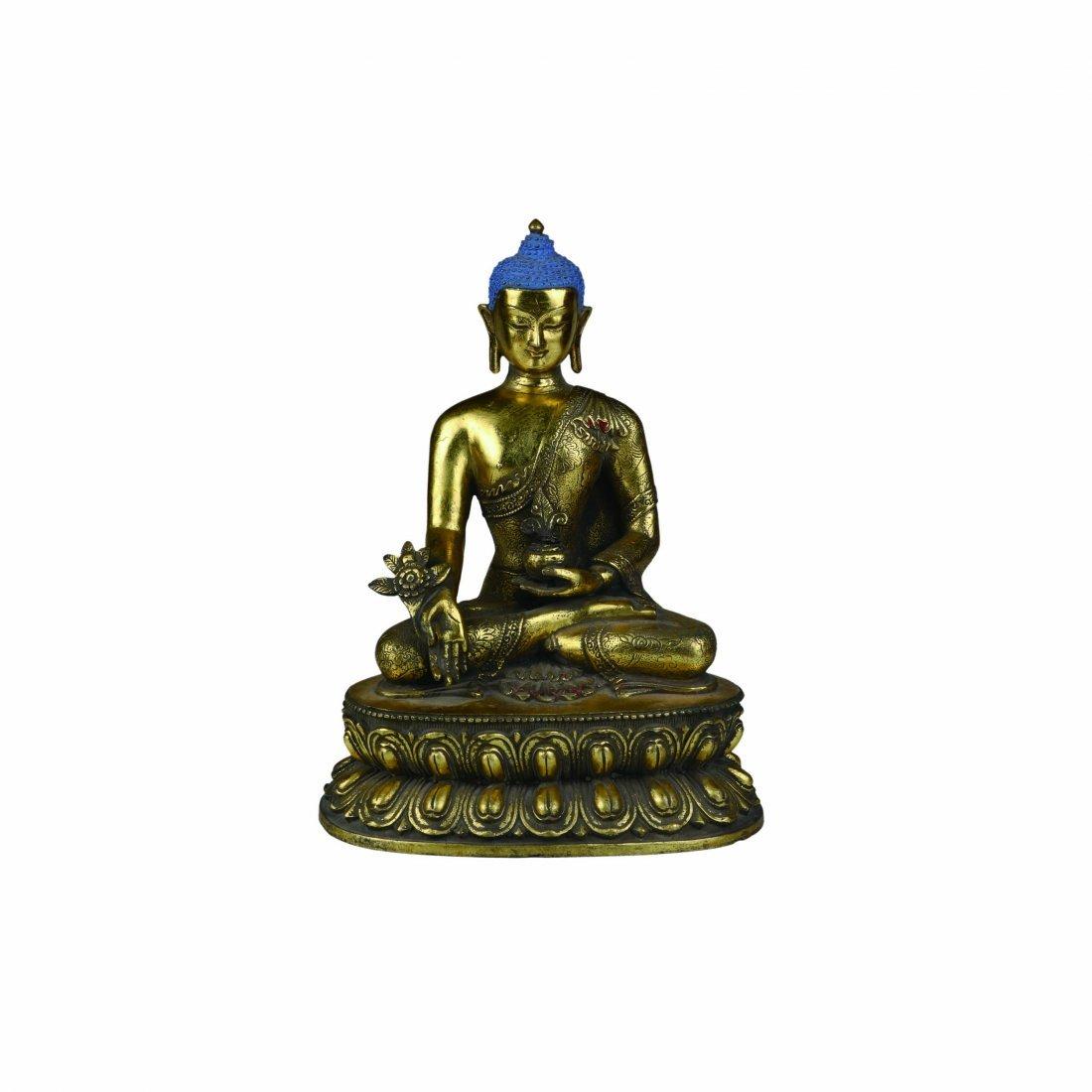 Gilt-Bronze Carved Budha