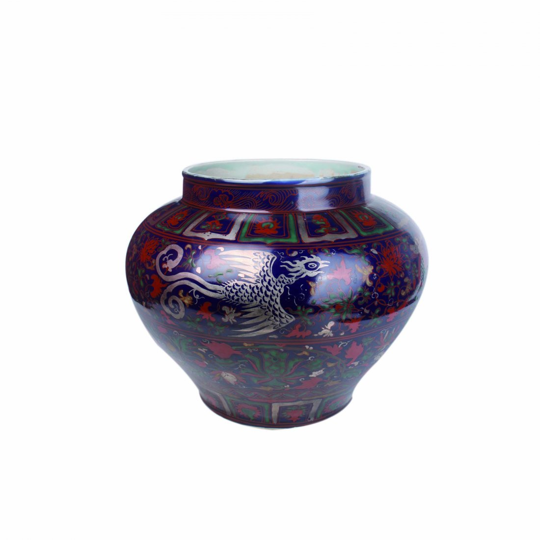 Blue-Glazed Gilt Floral Dragon and Phoenix Jar