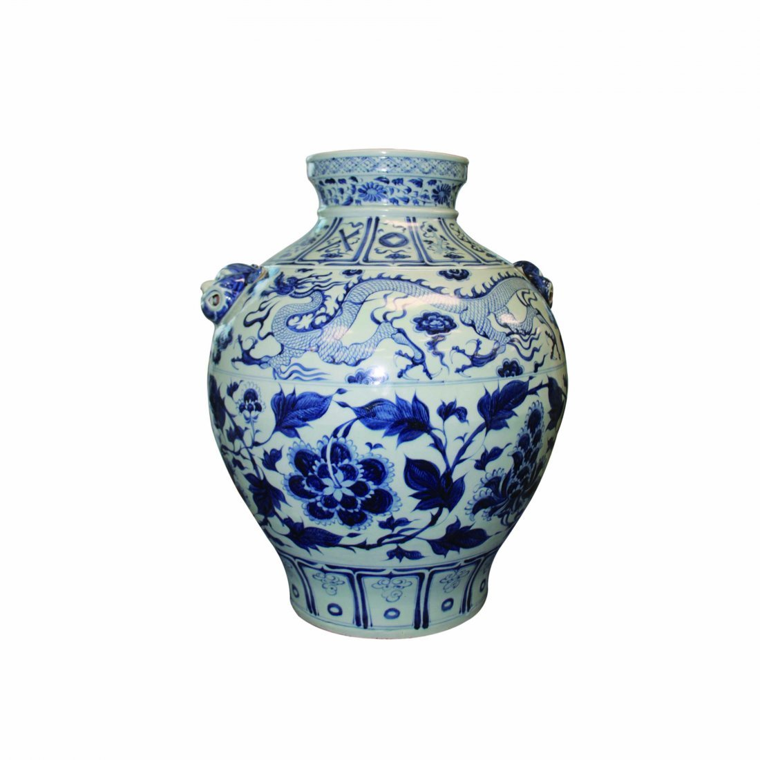 A Blue and White Dragon Floral Beast Handle Jar.