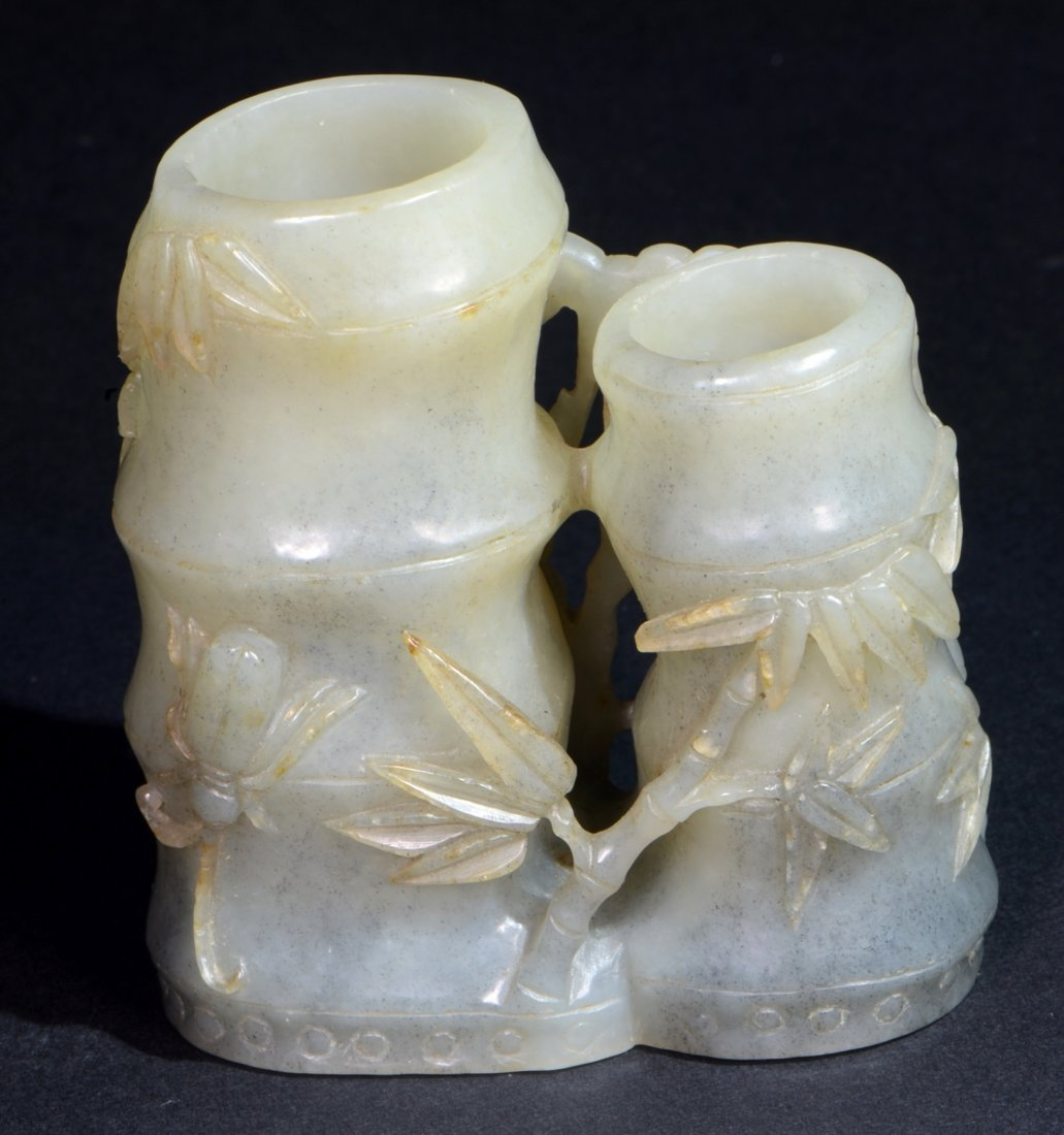 A Chinese White and Grey Jade (Nephrite) Bamboo Vase