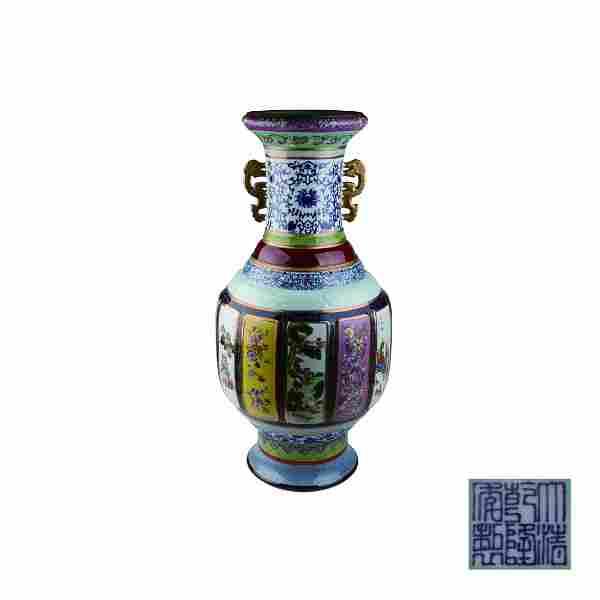 Famille Rose Gilt Painted Vase Qianlong Mark