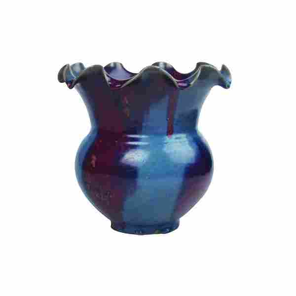 A 'Jun' Floral Vase (Zun)