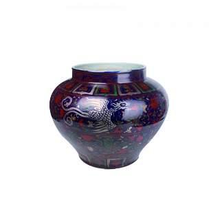 Blue-Glazed Gilt Floral Dragon and Pheonix Jar