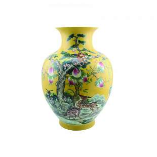 Yellow Glazed Famille Rose 'Shou and Lu' Jar