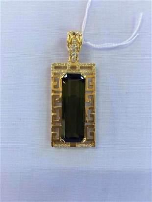 Natural Tourmaline Pendant Gold