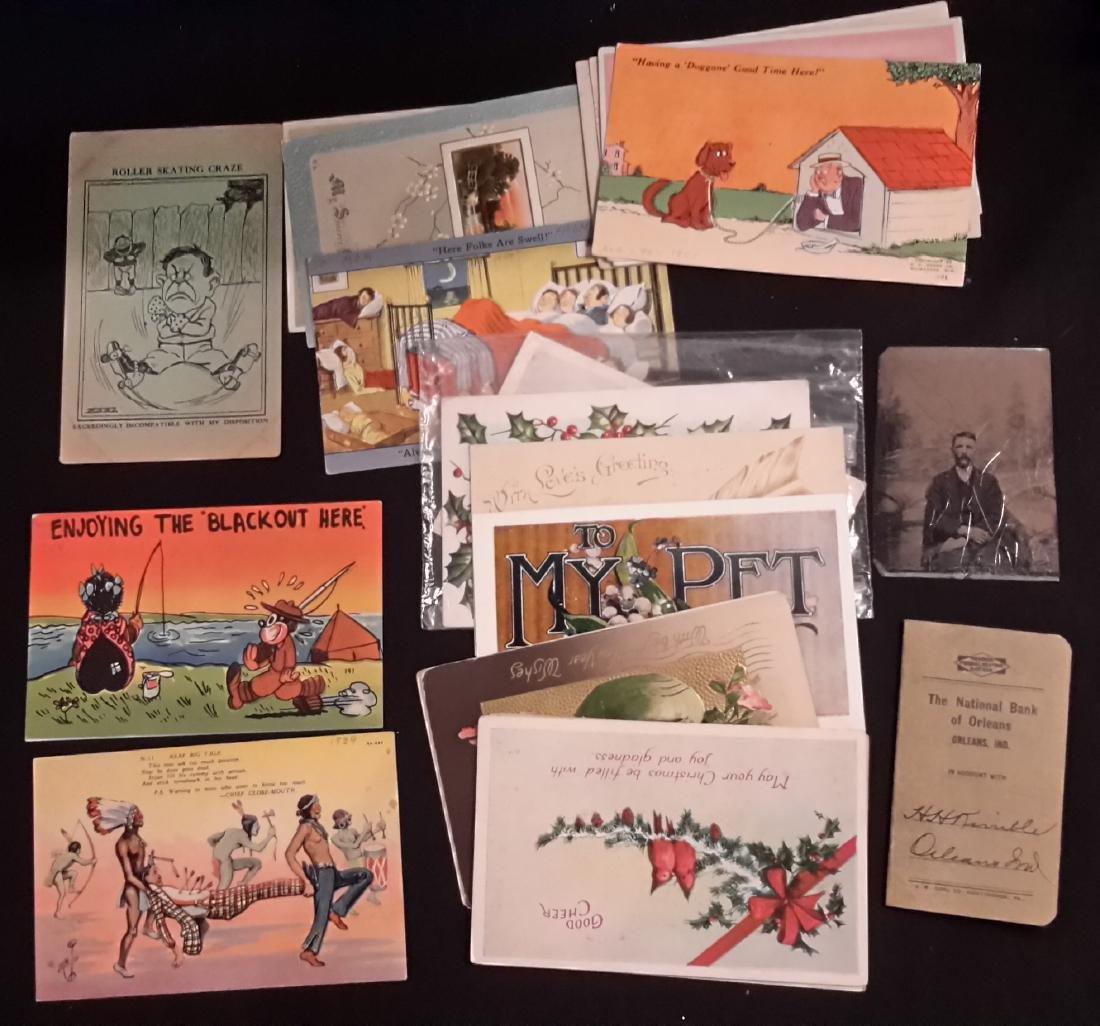 Postcards, (1) Black Memoribilia, Tin Type Photo,