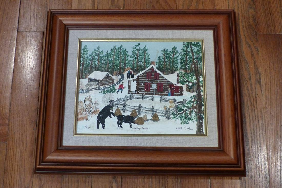 Will Moses Snowy Cabin Canvas