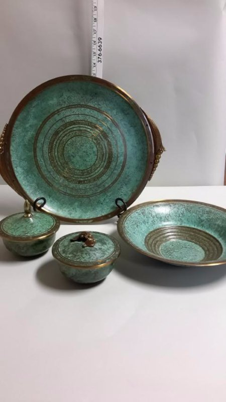 Carl Sorensen Bronze and Green Metal Dish set