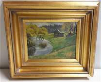 Bohelli oil on canvas farm scene