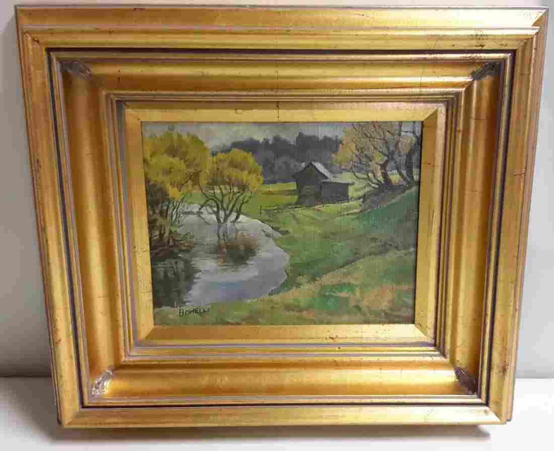 Bohelli oil on canvas farm scene