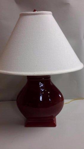 "Ceramic Reddish  Linen Lamp Shade 26""T 12"" w"