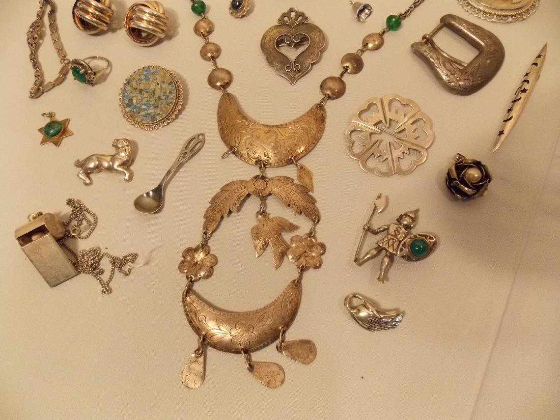 LARGE LOT SILVER JEWELRY INCL MEXICAN