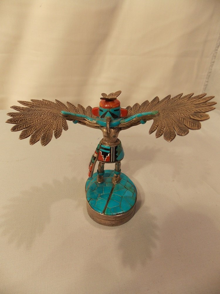 STERLING SILVER & TURQUOISE KACHINA FIGURINE