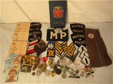 LOT US WWII MEDALS, PATCHES, BUTTONS ETC