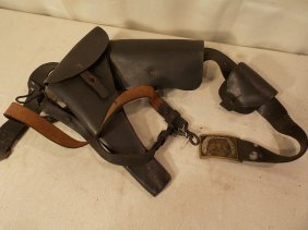 CIVIL WAR ERA LEATHER HOLSTER WITH EAGLE BUCKLE