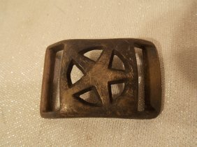 CONFEDERATE CIVIL WAR BRASS BELT BUCKLE