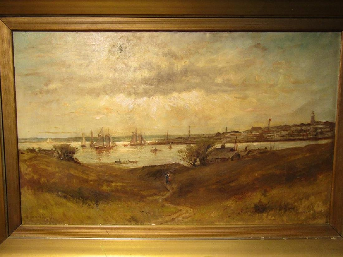 W. FERDINAND MACY 1899 PAINTING NEW BEDFORD HARBOR
