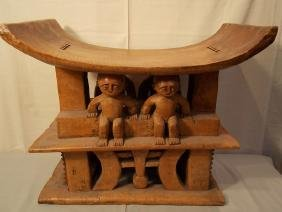 AFRICAN FIGURAL WOOD CHIEFS STOOL / BENCH