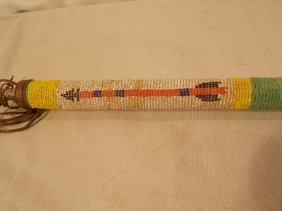 PLAINS INDIAN BEADED BONE PIPE STEM OGLALA