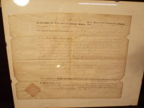 JOHN TYLER SR. SIGNED VIRGINIA DOCUMENT 1809