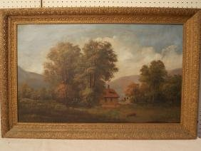 ANTIQUE PAINTING OF CABIN IN WOODS