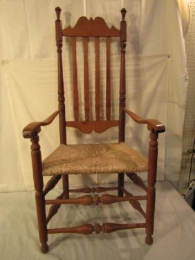 1700S MAPLE BANNISTER BACK ARMCHAIR