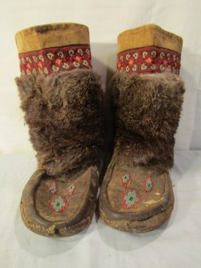 PAIR BEADED LEATHER INDIAN BOOTS