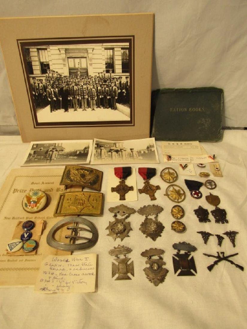 LOT WWI & II MEDALS, PINS, ETC FOR SGT. MAJ. HOUGH