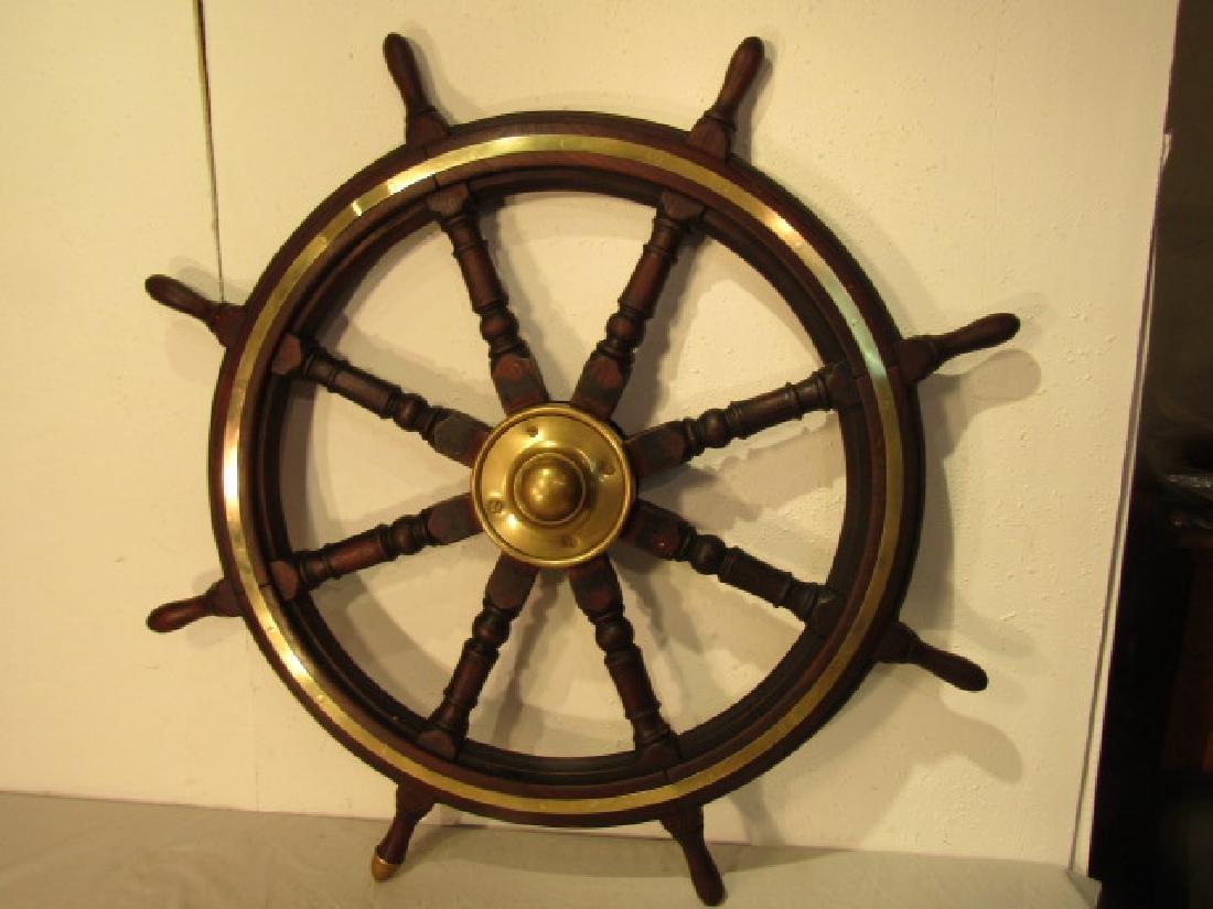 LARGE ANTIQUE SHIP WHEEL