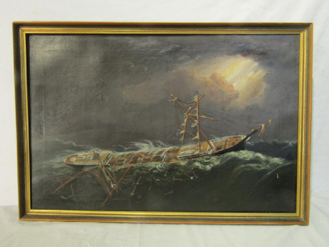 19TH C. SHIPWRECK PAINTING