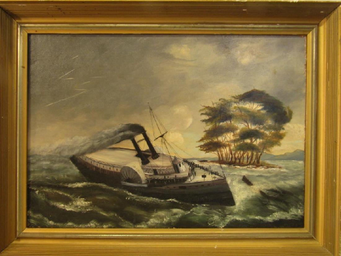 ANTIQUE FOLK ART SHIP PAINTING