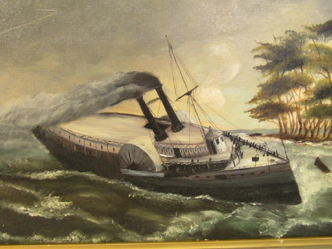ANTIQUE FOLK ART SHIP PAINTING - 2