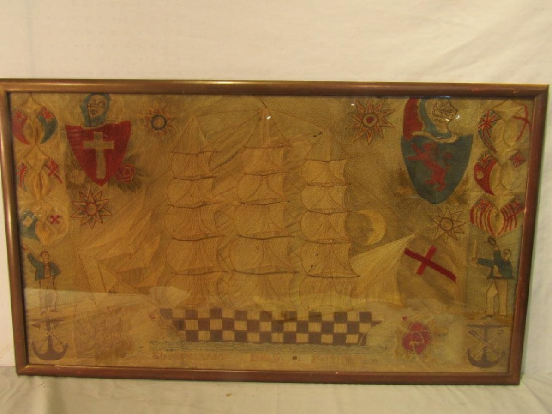 ANTIQUE WOOLWORK BRITISH NAVAL PICTURE
