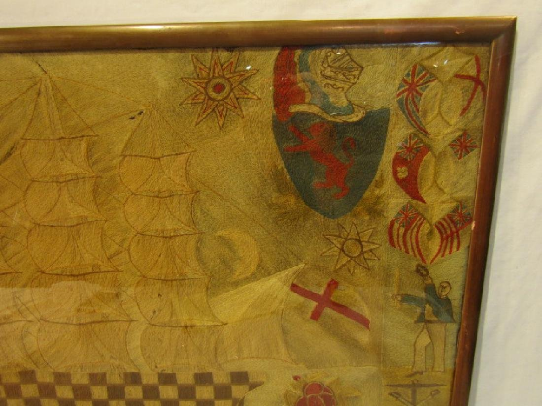 ANTIQUE WOOLWORK BRITISH NAVAL PICTURE - 2