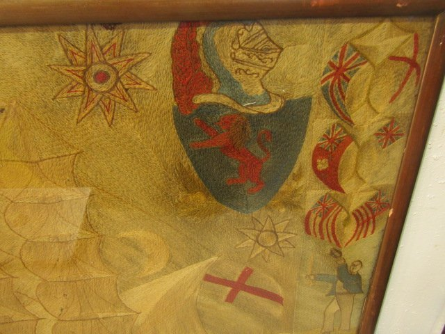 ANTIQUE WOOLWORK BRITISH NAVAL PICTURE - 3