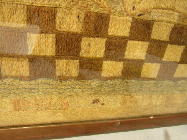 ANTIQUE WOOLWORK BRITISH NAVAL PICTURE - 4