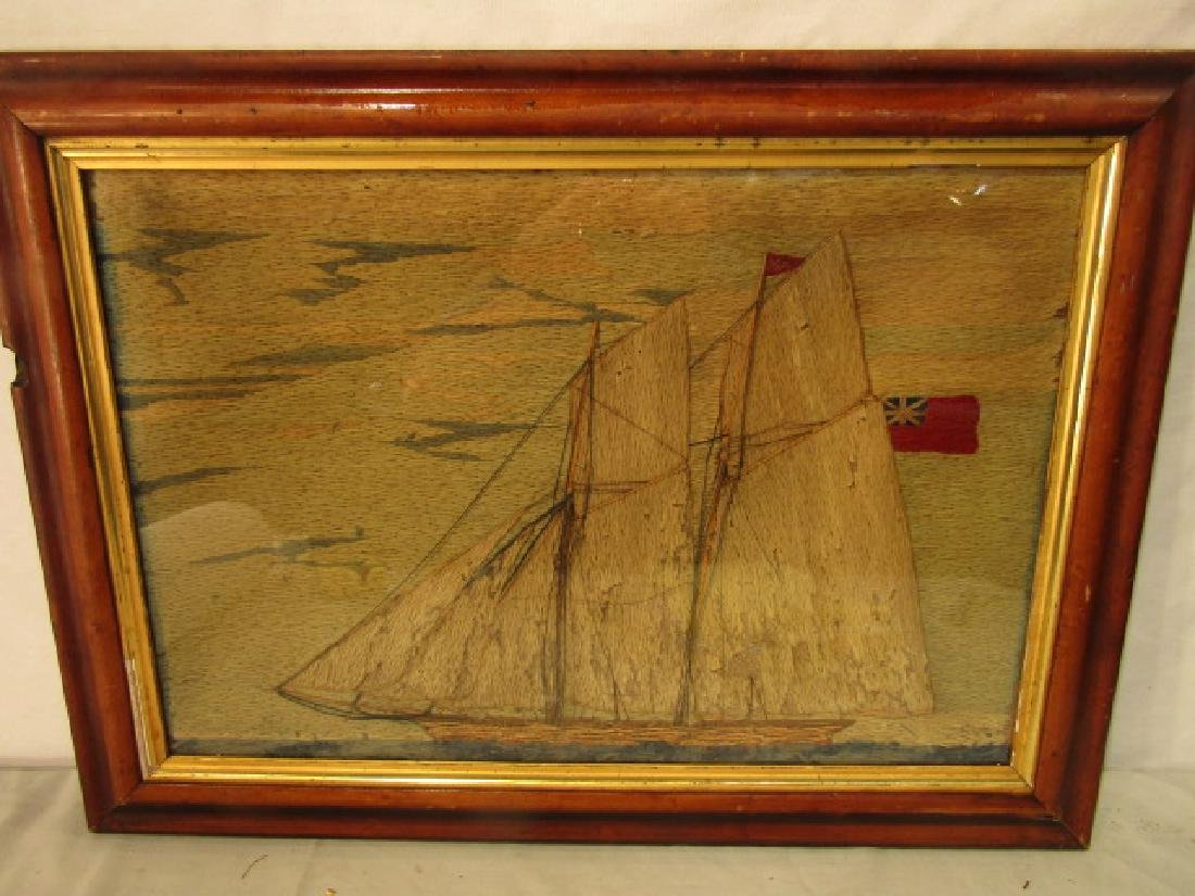 ANTIQUE WOOLWORK YACHT PICTURE