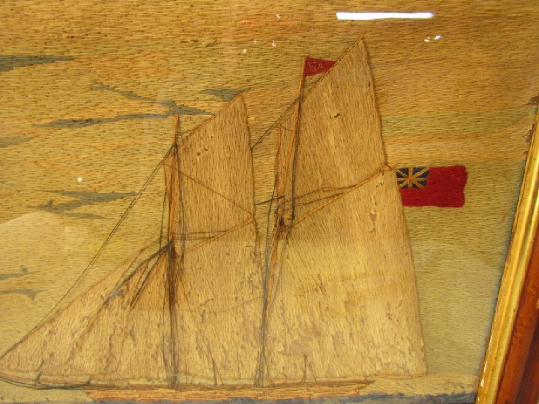 ANTIQUE WOOLWORK YACHT PICTURE - 2