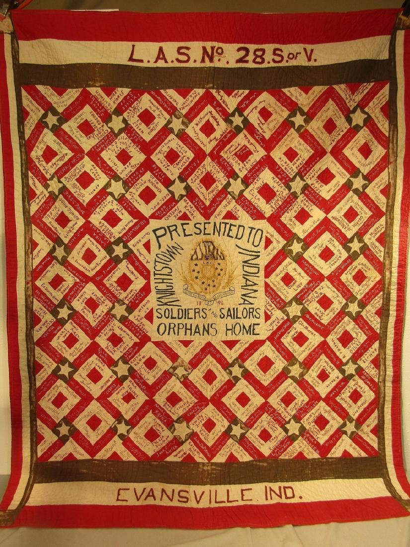1896 SIGNATURE QUILT SOLDIER ORPHANS