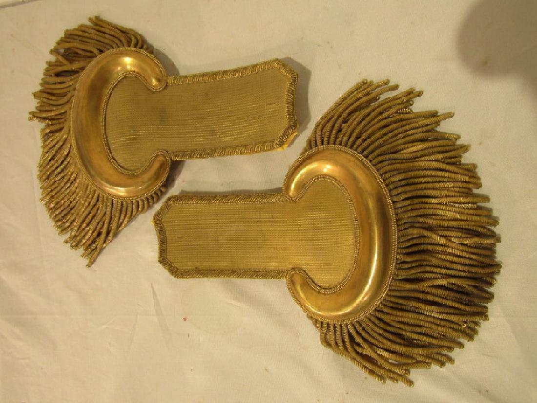 PAIR ANTIQUE MILITARY GOLD EPAULETS