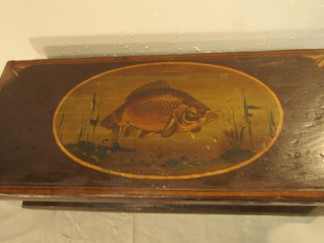PAINTED WOOD TOOL CHEST - FISH - 2