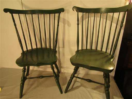 - PAIR ANTIQUE WINDSOR CHAIRS