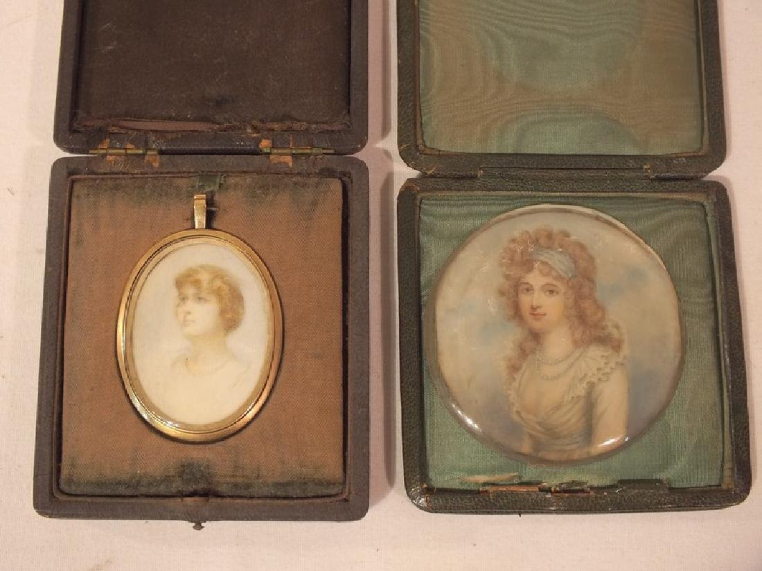 2 ANTIQUE MINIATURE PORTRAITS WOMEN