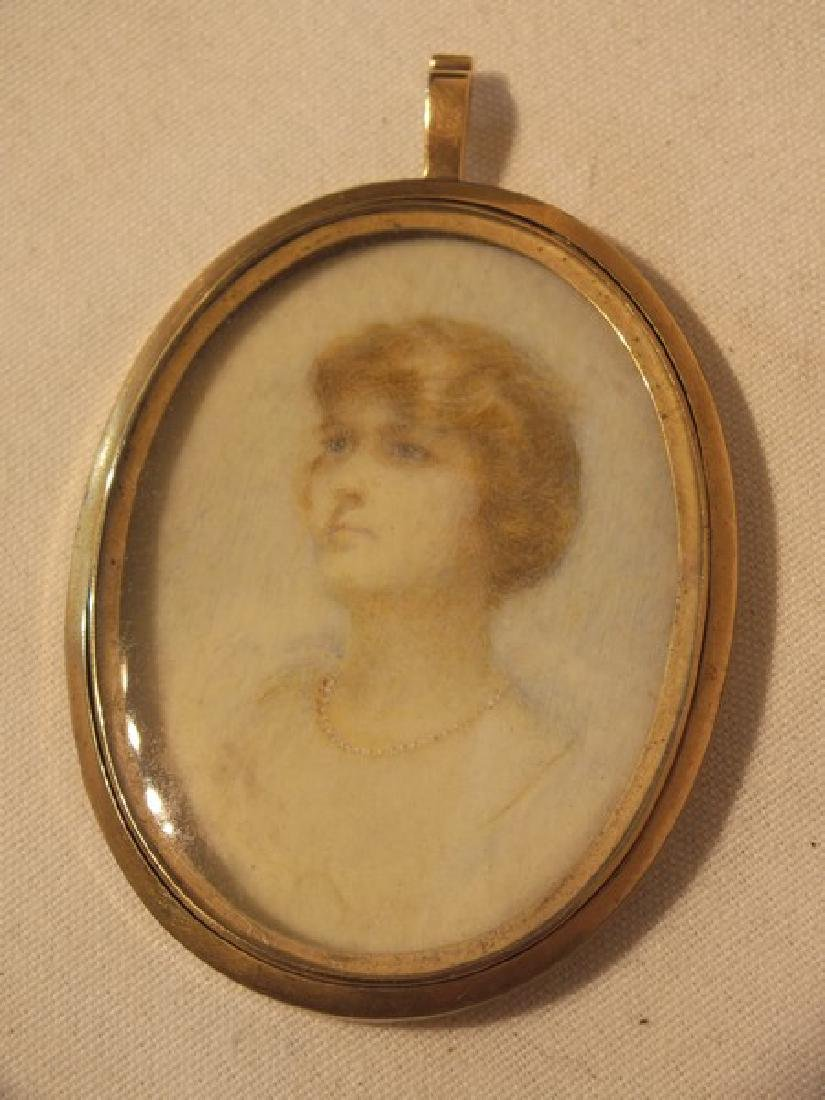 2 ANTIQUE MINIATURE PORTRAITS WOMEN - 3